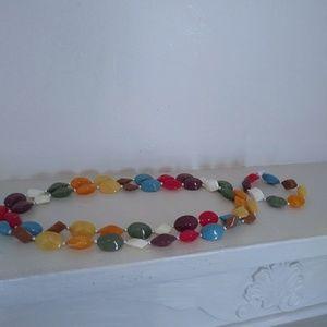 Multi-colored beaded necklace w/ bracelet set